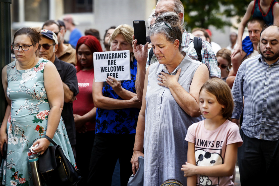 <strong>Around 100 demonstrators attend a protest against immigration policies Downtown on Main Street Friday, July 12, 2019. It comes days after the release of journalist Manuel Duran, arrested in Memphis more than a year ago and turned over to federal immigration authorities.&nbsp;</strong>(Mark Weber/Daily Memphian).