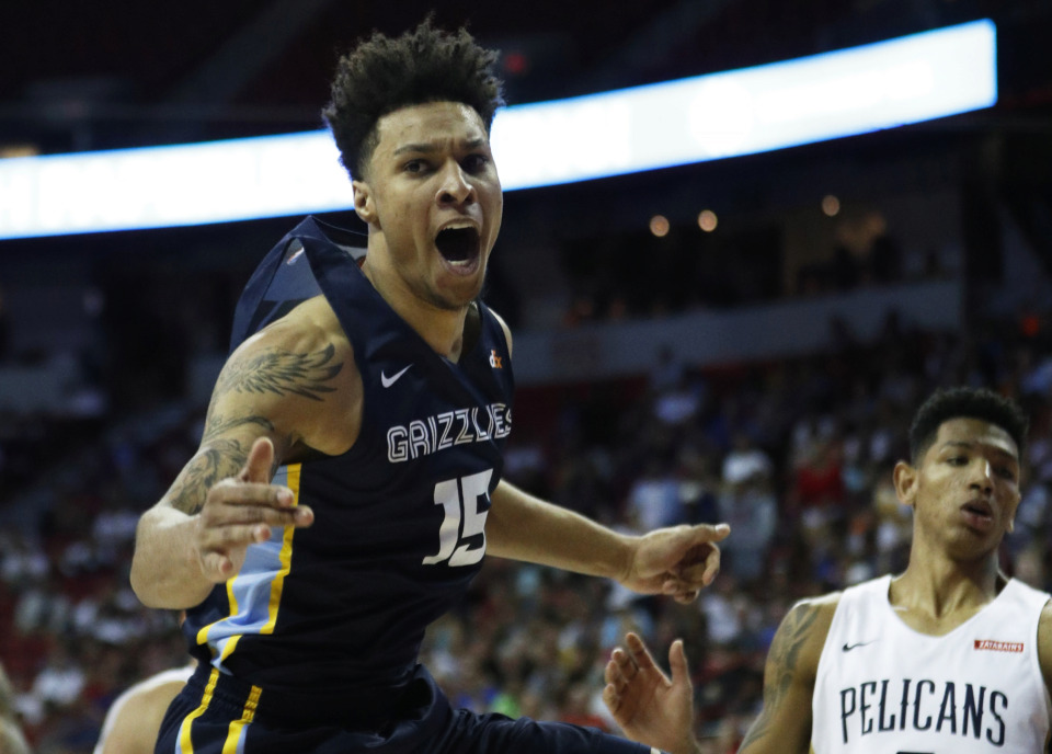 <strong>Memphis Grizzlies forward Brandon Clarke's overtime dunk against the New Orleans Pelicans on Sunday, July 14, powered the Grizzlies into Monday's NBA Summer League championship game.</strong> (AP Photo/John Locher)