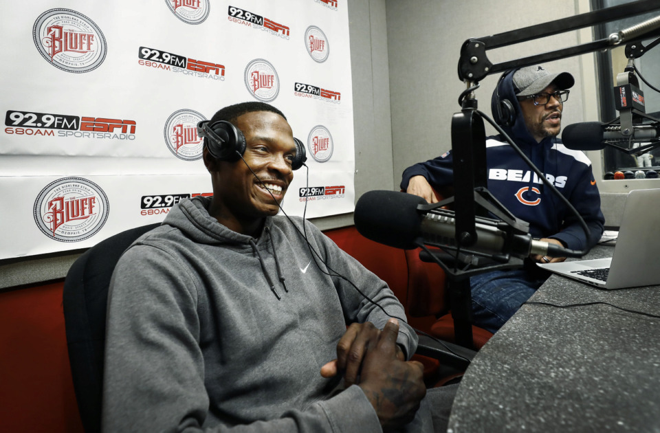 <strong>Former Memphis Tiger basketball star Joe Jackson (left) chats with radio host Jason Smith (right) on the &ldquo;Jason &amp; John Show&rdquo; Monday, July 15. Jackson says a 2017 drug arrest and subsequent jail time sent him spinning into some &ldquo;grim places&rdquo; but that he's now looking toward the future and hopeful for a comeback in basketball.</strong>&nbsp;(Mark Weber/Daily Memphian)