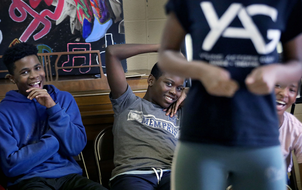 <strong>Jordan Chatman (from left), Kylan Brown and Nia Smith crack up during a Young Actors Guild theater camp activity where the campers took turns acting out impromptu skits Monday, July 15, at Capleville United Methodist on Riverdale Road.&nbsp;The guild plans to operate its Harriet Performing Arts Center in a former Orange Mound fire station starting in 2021.</strong>&nbsp;(Patrick Lantrip/Daily Memphian)