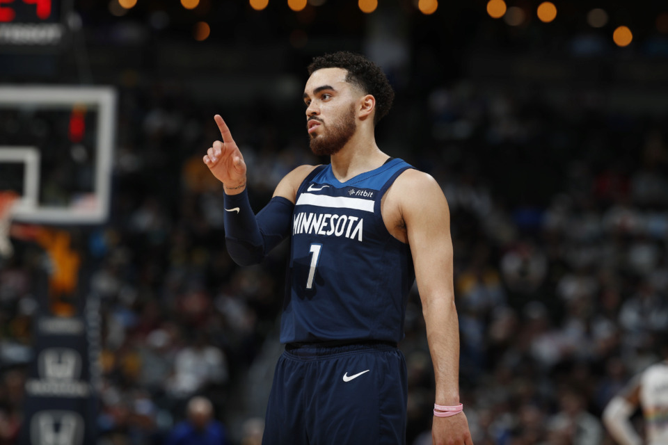<span><strong>Minnesota Timberwolves guard Tyus Jones (1) in the second half of an NBA basketball game Wednesday, April 10, 2019, in Denver. The Nuggets won 99-95.</strong> (AP Photo/David Zalubowski)</span>