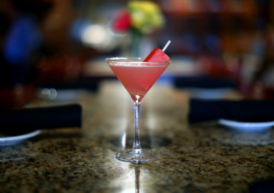 <strong>The watermelon martini from Bonefish Grill in Cordova is served with a skewer of frozen watermelon.</strong> (Patrick Lantrip/Daily Memphian)