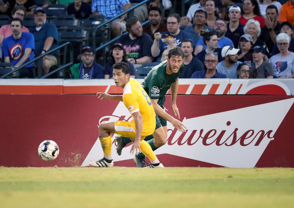 <strong>Memphis forward Elliot Collier races to catch up to a Nashville SC defender Wednesday, July 17, 2019.</strong> (Patrick Lantrip/Daily Memphian)