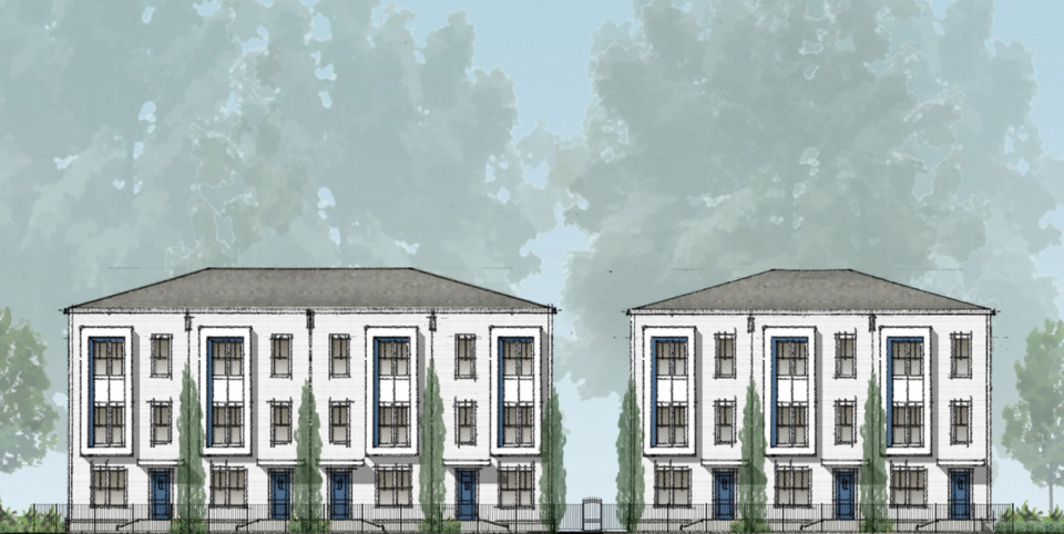 <strong>The $4.6 million&nbsp;Grove Townhouses at the corner of Highland and Spottswood will provide housing for 75 students in six three-story townhome buildings. The townhomes, along with the nearby Grove Studios, were among the projects that received tax incentives from the Economic Development Growth Engine board Wednesday.&nbsp;</strong>(Rendering courtesy of LRK)