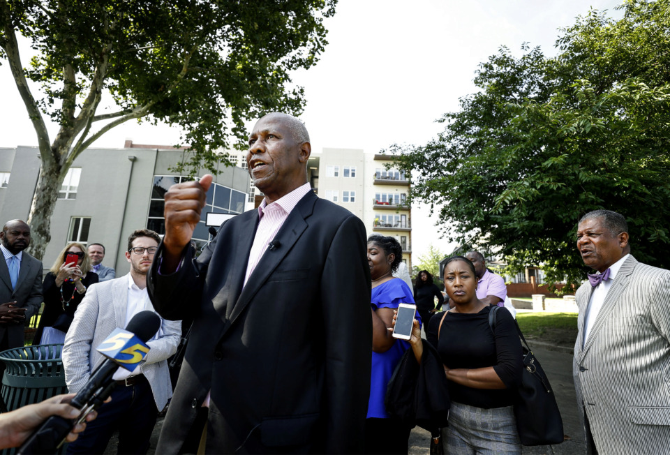 <strong>Mayoral contender and former mayor Willie Herenton denounces the Tom Lee Park plan during a press conference in Butler Park overlooking Tom Lee Park on&nbsp; Thursday, July 18.&nbsp;&ldquo;I emphatically oppose this plan with every fiber of my being. We must not be silent,&rdquo; Herenton said.</strong>&nbsp;(Mark Weber/Daily Memphian)