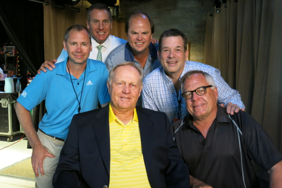 <strong>Legendary golfer Jack Nicklaus (center) poses with the CBS broadcast crew, including Memphian Sellers Shy (top center). Shy began working the Memphis golf tournament as a runner for CBS when he was 14.&nbsp;</strong>(Photo courtesy of Sellers Shy)