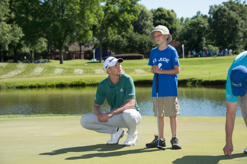 <strong>Daniel Berger hung out with St. Jude patients in 2016 and went on to win the FedEx St. Jude Classic. He used the same formula in 2017, with the same result.</strong><span>&nbsp;(Photo courtesy of ALSAC/St. Jude Children's Research Hospital)</span>