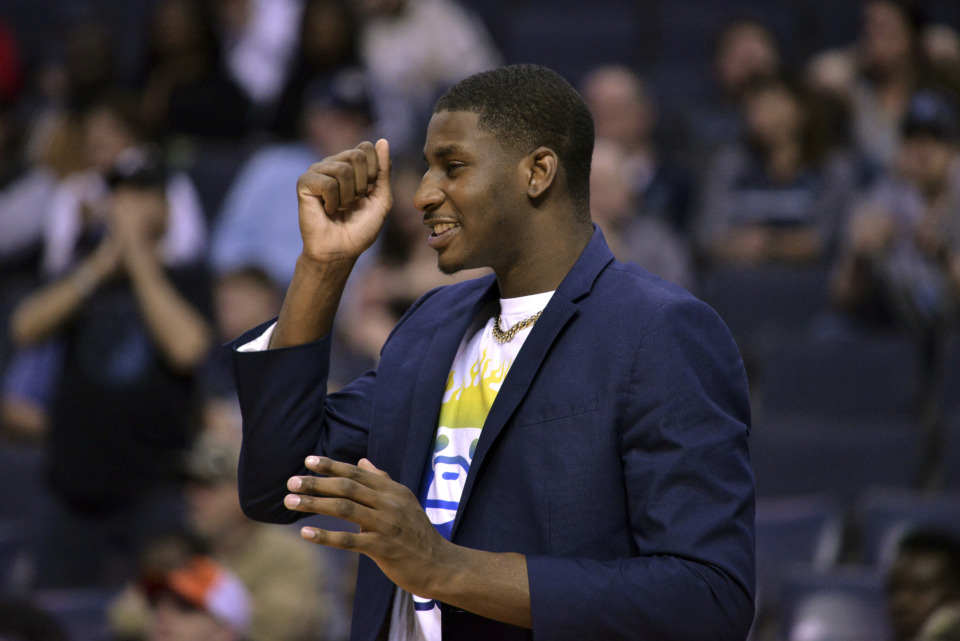 <span><strong>Memphis Grizzlies forward Jaren Jackson Jr. reacts from the sideline in the first half of an NBA basketball game against the Minnesota Timberwolves Saturday, March 23, 2019, in Memphis, Tenn.</strong> (AP Photo/Brandon Dill)</span>