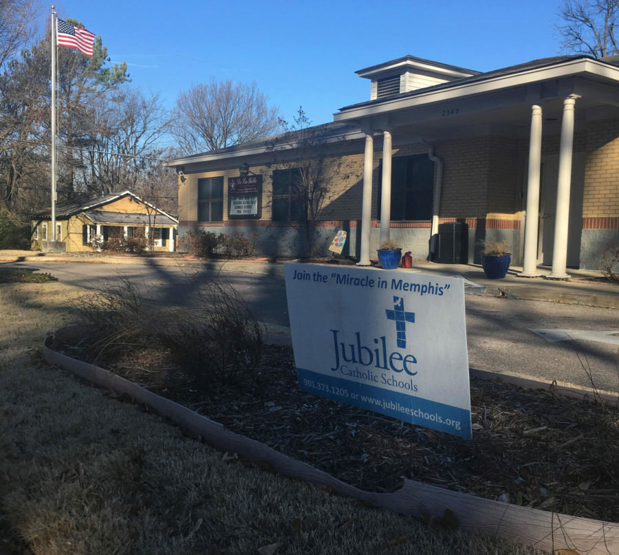 """<div class=""""img-wrapper""""><div class=""""img-credit""""><div class=""""credit""""><strong>This private Catholic school in Binghampton is one of six that New Day Schools wants to convert into a charter school.</strong>&nbsp;(Laura Faith Kebede/Chalkbeat)</div></div></div>"""