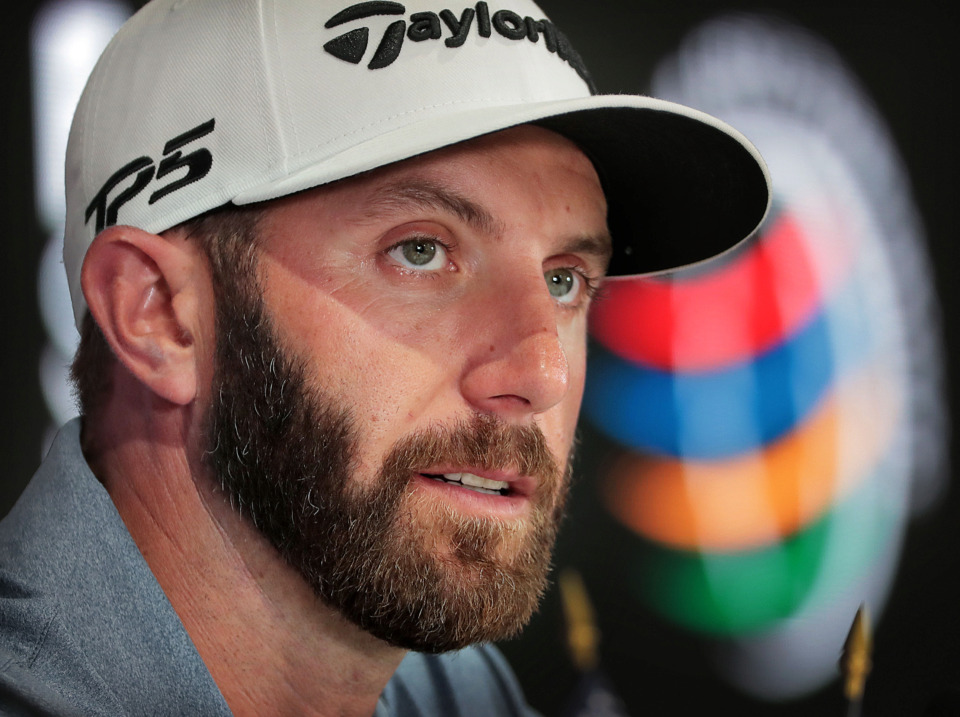 <strong>Dustin Johnson answers questions during a press conference on a day of practice rounds at the WGC - FedEx St. Jude Invitational at TPC Southwind on Wednesday, July 24, 2019.</strong> (Jim Weber/Daily Memphian)