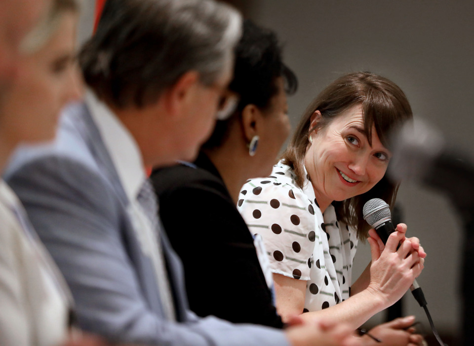 <strong>Anna Mullins moderates a panel at New Memphis&rsquo; inaugural National Intern Day Luncheon on Wednesday, July 24, 2019.</strong> (Patrick Lantrip/Daily Memphian)