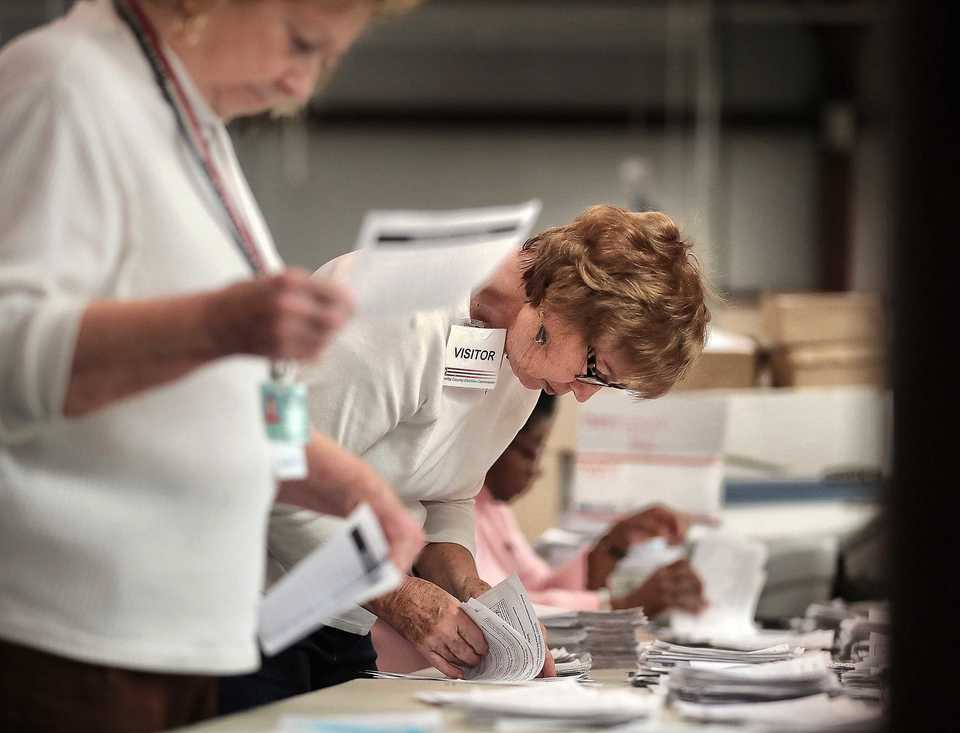 <strong>Shelby County Election Commissioner Dee Nollner (left) and Carol Straughn, president of the League of Women Voters, work to update voter registration rolls Tuesday, Oct. 16, at the Election Commission Operations Center in advance of early voting.</strong> (Jim Weber/Daily Memphian)
