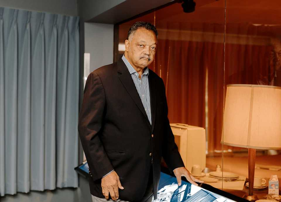 <strong>Rev. Jesse Jackson stands outside Martin Luther King Jr.'s room inside the National Civil Rights Museum. Jackson traveled to Memphis to attend the annual Freedom Awards event at the museum on Wednesday, Oct. 17.</strong> (Houston Cofield/Daily Memphian)