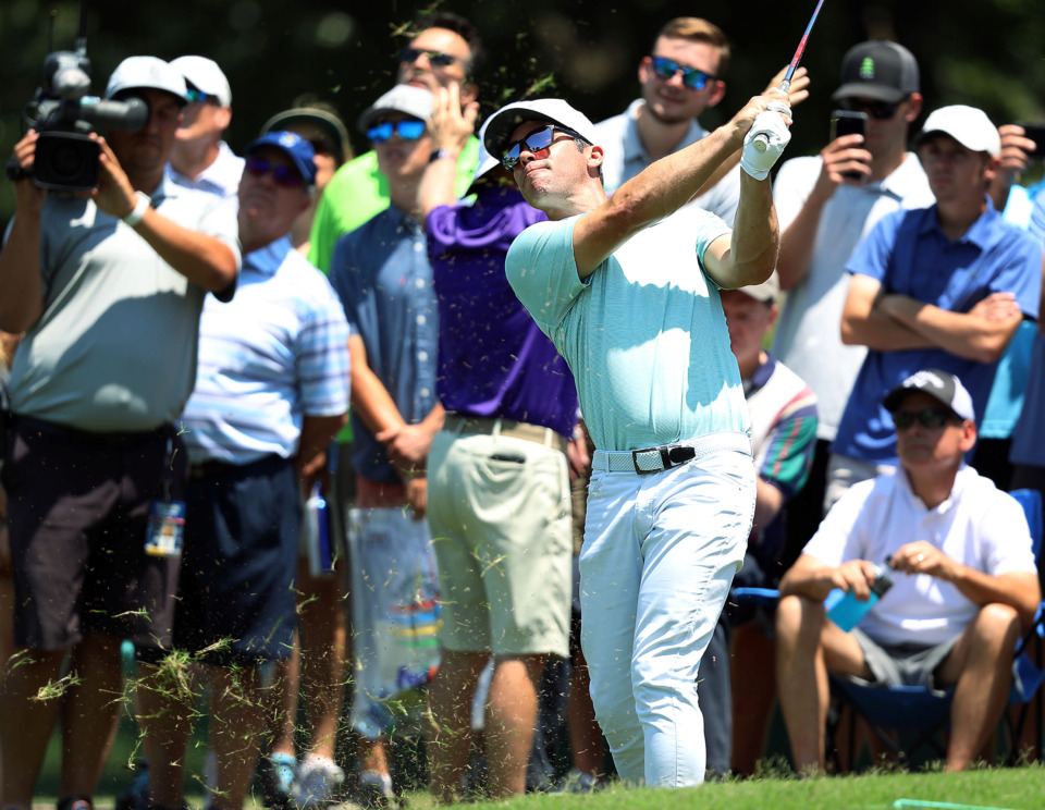 <strong>Paul Casey does his best to recover from a previous shot he hit into the crowd during first-round action at the WGC-FedEx St. Jude Invitational at TPC Southwind on Thursday, July 25, 2019.</strong> (Patrick Lantrip/Daily Memphian)