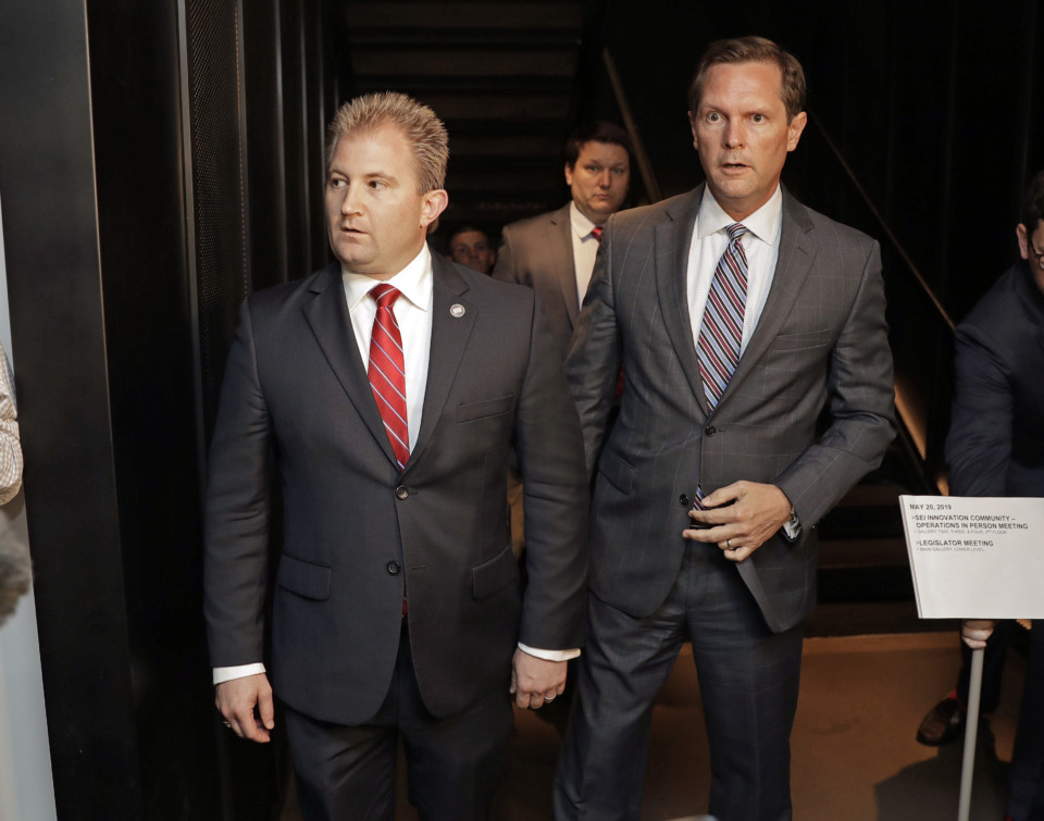 <strong>House Republican Majority Leader Rep. William Lamberth, R-Portland, left, and Rep. Cameron Sexton, R-Crossville, leave after a House Republican Caucus meeting to discuss the future of embattled House Speaker Glen Casada on May 20, 2019, in Nashville, Tenn. The caucus has nominated Sexton as Casada's replacement.</strong> (AP Photo/Mark Humphrey)
