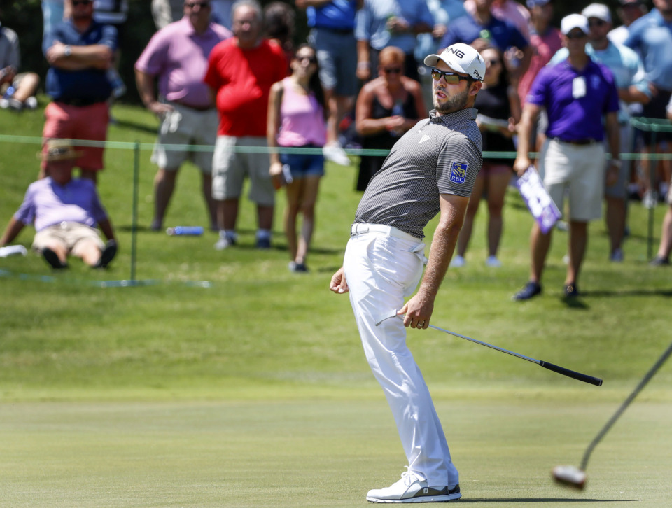 <strong>PGA golfer Corey Conners reacts after missing a birdie on the sixth hole during first-round action at the WGC-FedEx St. Jude Invitational at TPC Southwind, Thursday, July 25, 2019.</strong> (Mark Weber/Daily Memphian)