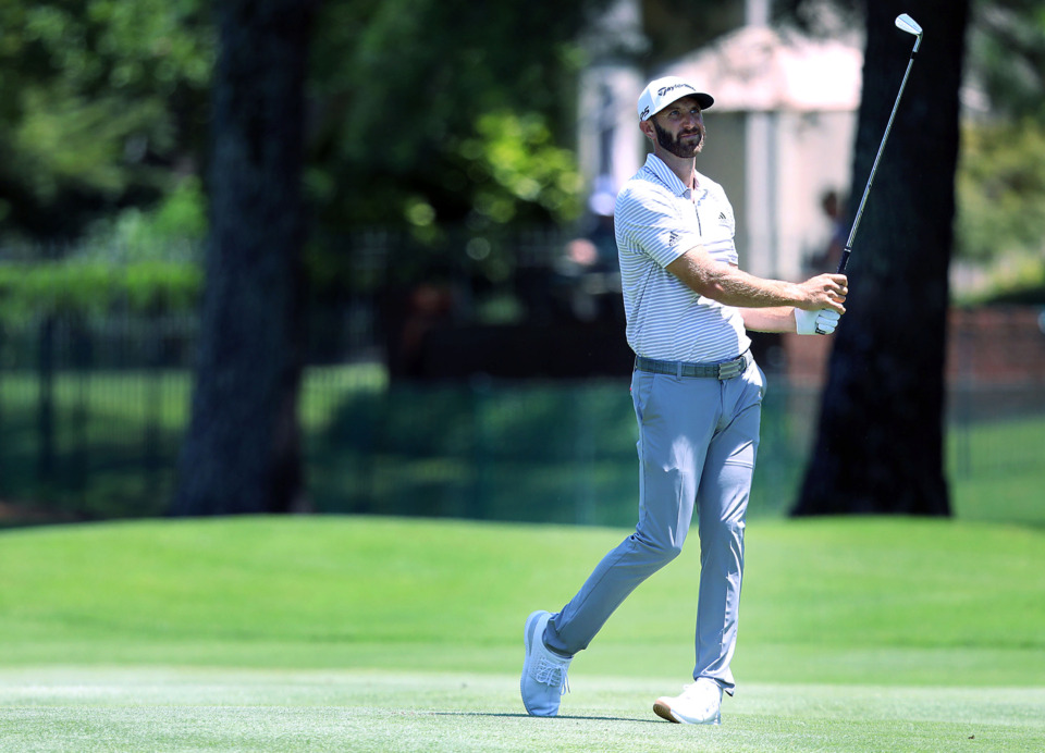 <strong>Dustin Johnson was not happy with a fairway shot during first-round action at the WGC-FedEx St. Jude Invitational at TPC Southwind, Thursday, July 25, 2019.</strong> (Patrick Lantrip/Daily Memphian)