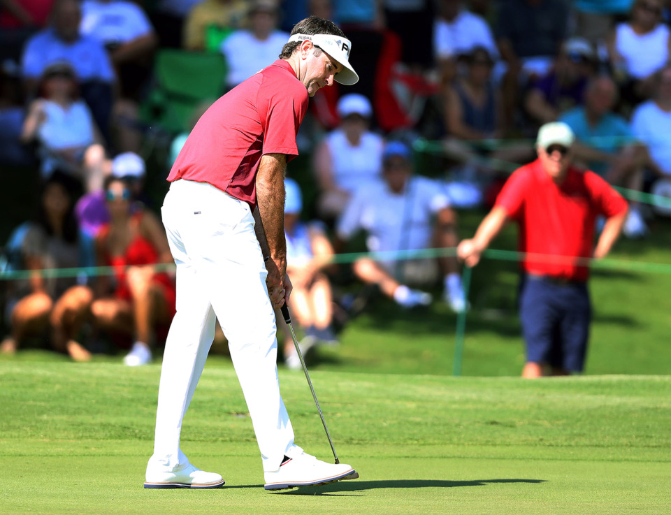 <strong>Bubba Watson eyes a birdie putt on 18 as it goes to help him finish 5-under during first-round action at the WGC-FedEx St. Jude Invitational at TPC Southwind, Thursday, July 25, 2019.</strong> (Patrick Lantrip/Daily Memphian)