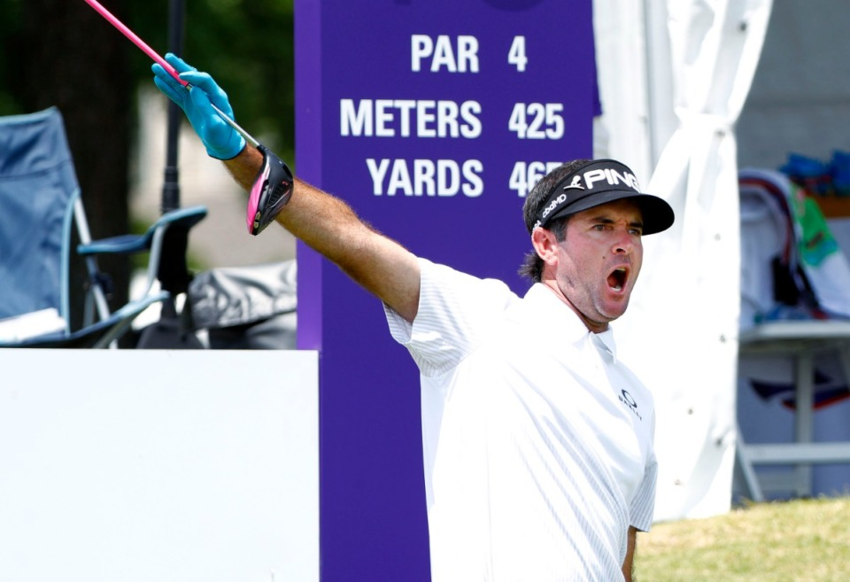 <strong>Bubba Watson alerts the gallery after an errant tee shot at the 10th hole during the WGC-FedEx St. Jude Invitational. Watson started third on the leaderboard on Friday, July 26, 2019.</strong> (Houston Cofield Special To The Daily Memphian)