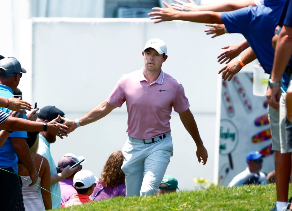 <strong>Rory McIlroy interacts with his fans as he heads to the 10th tee during the 2019 WGC-FedEx St. Jude Invitational on Friday, July 26, 2019. McIlroy finished the day at 4-under and is one of 16 golfers trailing leader Matthew Fitzpatrick by four or fewer shots.</strong>&nbsp;(Houston Cofield/Special to The Daily Memphian)