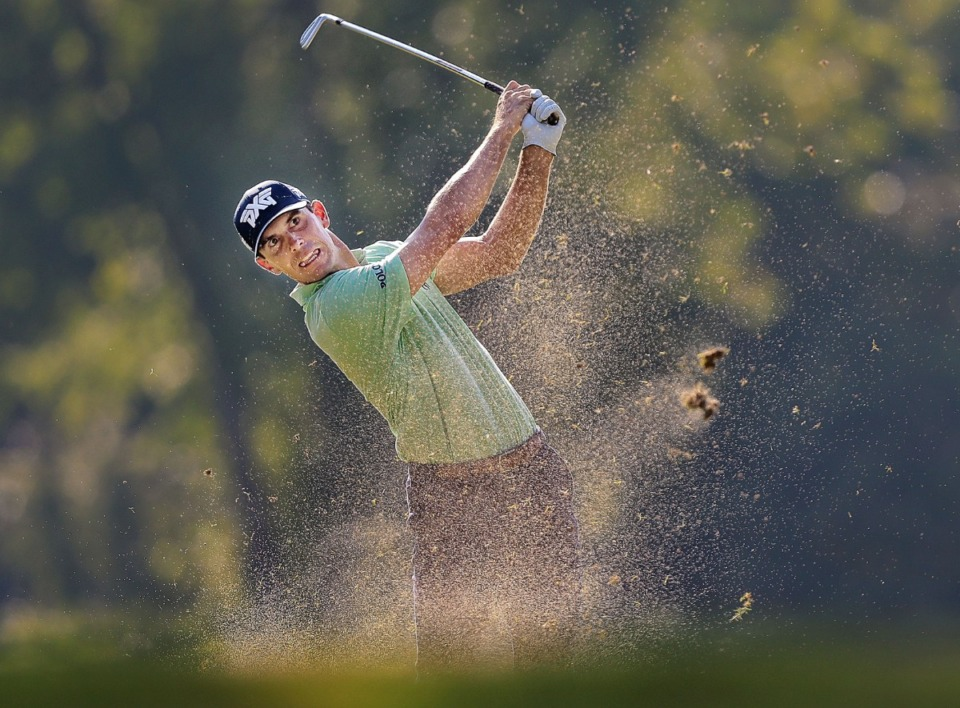 <strong>Billy Horschel hits out of the rough at No. 7 during the second round of tournament play at the WGC-FedEx St. Jude Invitational at TPC Southwind on July 26, 2019.</strong> (Jim Weber/Daily Memphian)