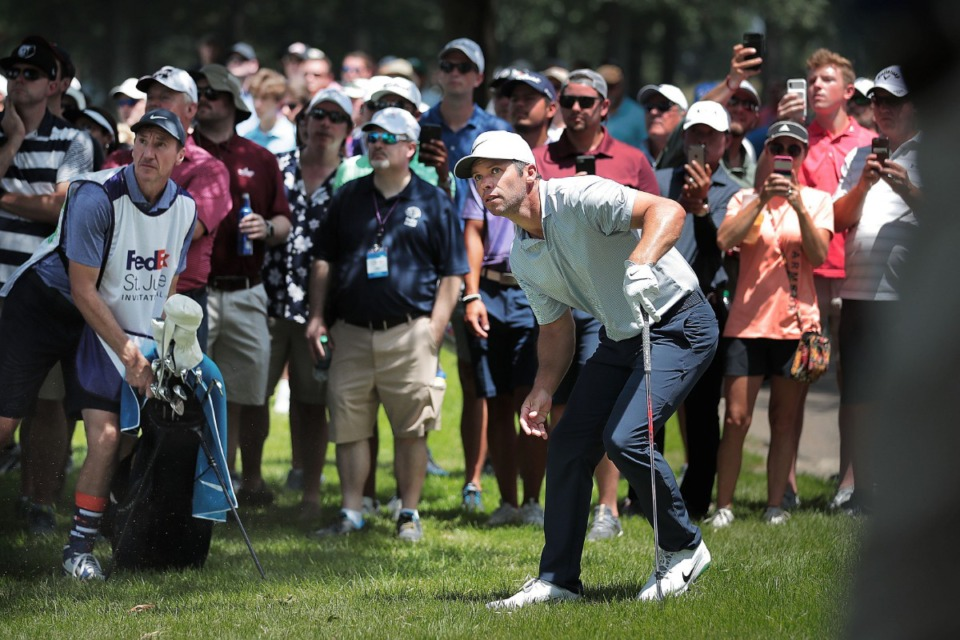 <strong>Paul Casey watches his shot after playing from the rough at the third hole during the second round of tournament play at the WGC-FedEx St. Jude Invitational at TPC Southwind on July 26, 2019.</strong> (Jim Weber/Daily Memphian)