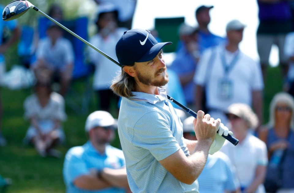<strong>Tommy Fleetwood tees off on No. 1 during the third round of the 2019 WGC-FedEx St. Jude Invitational.</strong>&nbsp;(Houston Cofield, Special To The Daily Memphian)