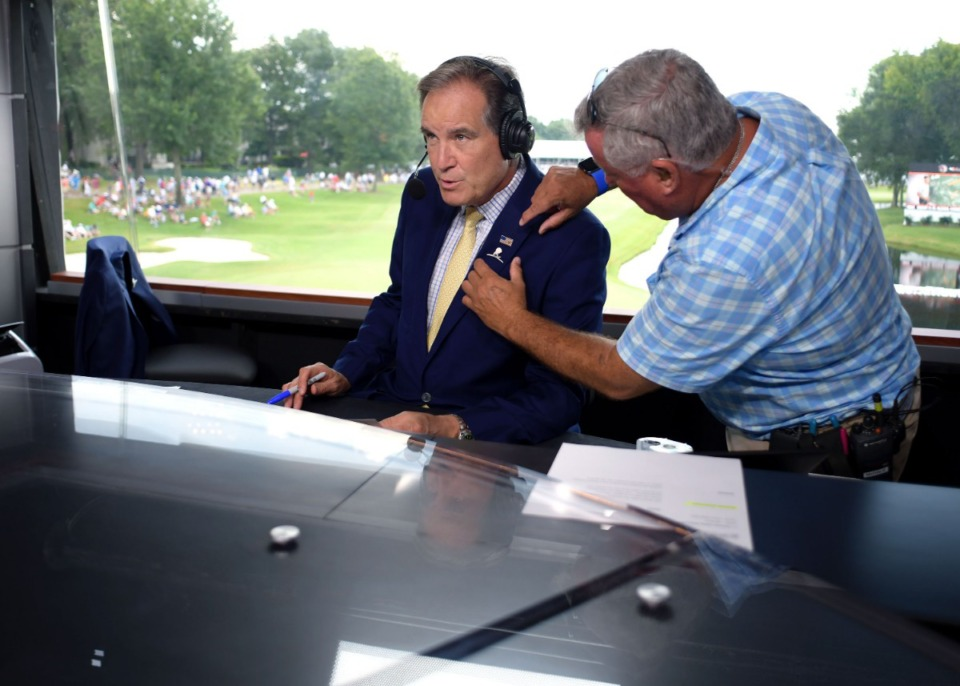<strong>CBS announcer Jim Nantz prepares to go live at the 2019 WGC-FedEx St. Jude Invitational at TPC Southwind on Saturday, July 27, 2019.</strong> (Houston Cofield Special To The Daily Memphian)