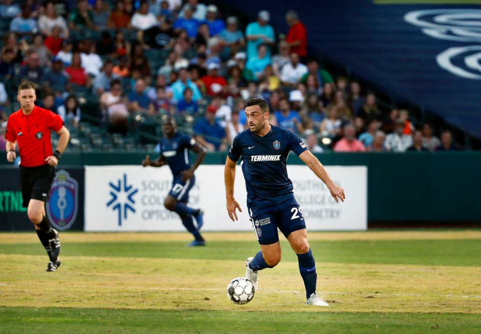 <strong>Memphis forward Brandon Allen (29) eyes a pass during the 901 FC&nbsp; home victory over the visiting Ottawa Fire on Saturday, July 27, 2019, at AutoZone Park.</strong> (Patrick Lantrip/Daily Memphian)