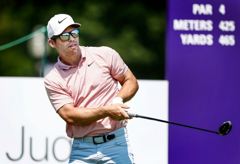 <strong>PGA golfer Paul Casey watches his tee shot on the 10th hole during final round action at the WGC-FedEx St. Jude Invitational at TPC Southwind, Sunday, July 28, 2019.</strong> (Mark Weber/Daily Memphian)