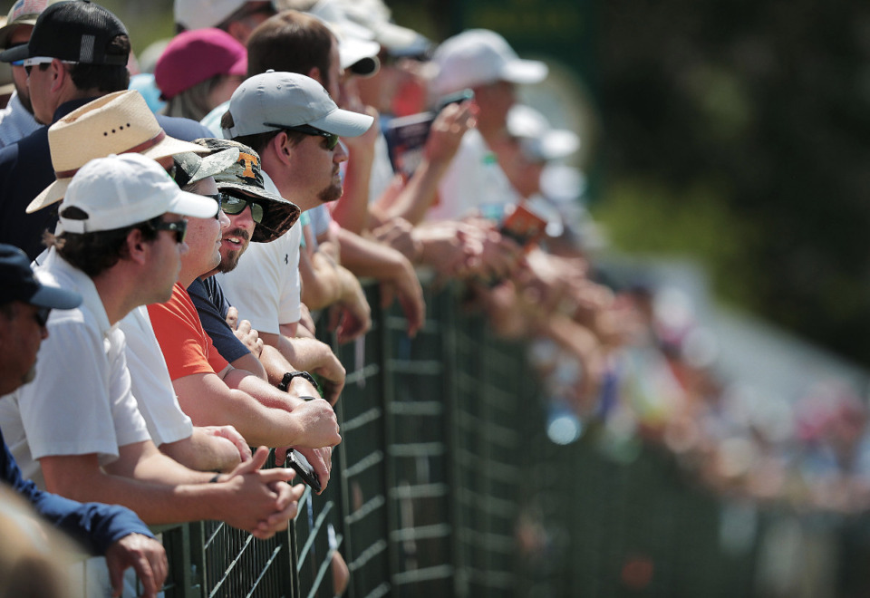 <strong>Fans watch golfers on the driving range during the second round of tournament play at the WGC-FedEx St. Jude Invitational at TPC Southwind on July 26, 2019.</strong> (Jim Weber/Daily Memphian)