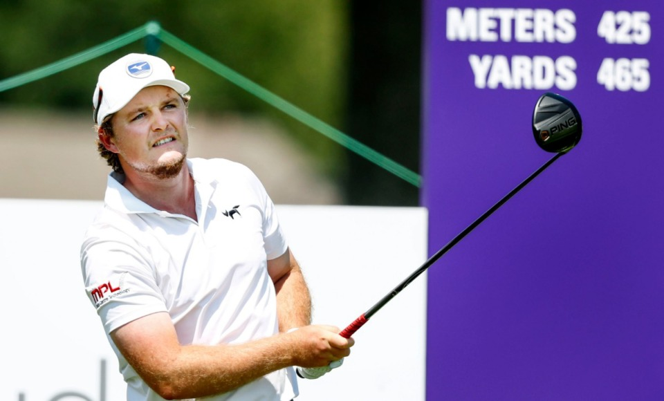 <strong>Eddie Pepperell watches his tee shot on the 10th hole Sunday.</strong> (Mark Weber/Daily Memphian).