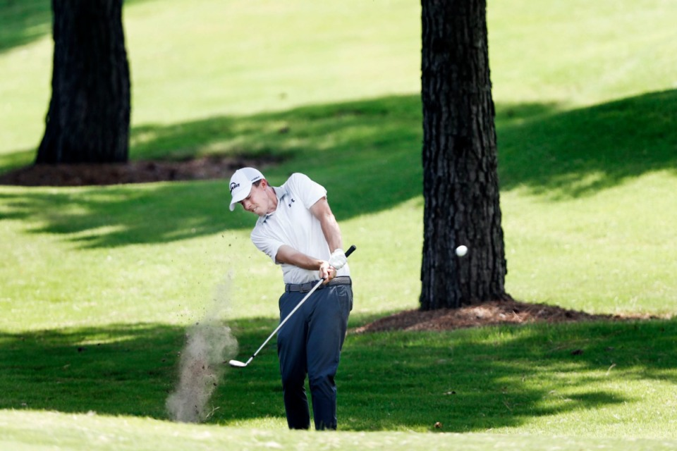 <strong>Matthew Fitzpatrick hits out of the rough at No. 6 Sunday.</strong> (Mark Weber/Daily Memphian).