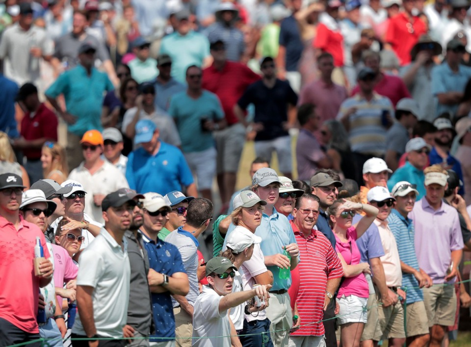 <strong>Fans watch as Brooks Koepka hits onto the 17th green during the third round of tournament play at the WGC-FedEx St. Jude Invitational at Southwind on July 27, 2019.</strong> (Jim Weber/Daily Memphian)