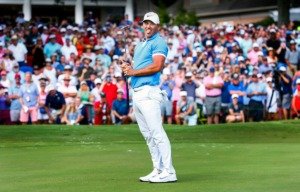 """<strong>Brooks Koepka reacts after missing a birdie putt at hole 18 while on his way to winning the WGC-FedEx St. Jude Invitational at TPC Southwind, Sunday, July 28, 2019. After a successful first year, organizers are&nbsp;<span class=""""s1"""">striving for enhancement of the WGC-FedEx St. Jude Invitational, starting with next year's Fourth of July week schedule midway between the U.S. and British opens.</span>&nbsp;</strong>(Mark Weber/Daily Memphian)&nbsp; <p class=""""p1""""> <p class=""""p1""""> <p class=""""p1"""">"""