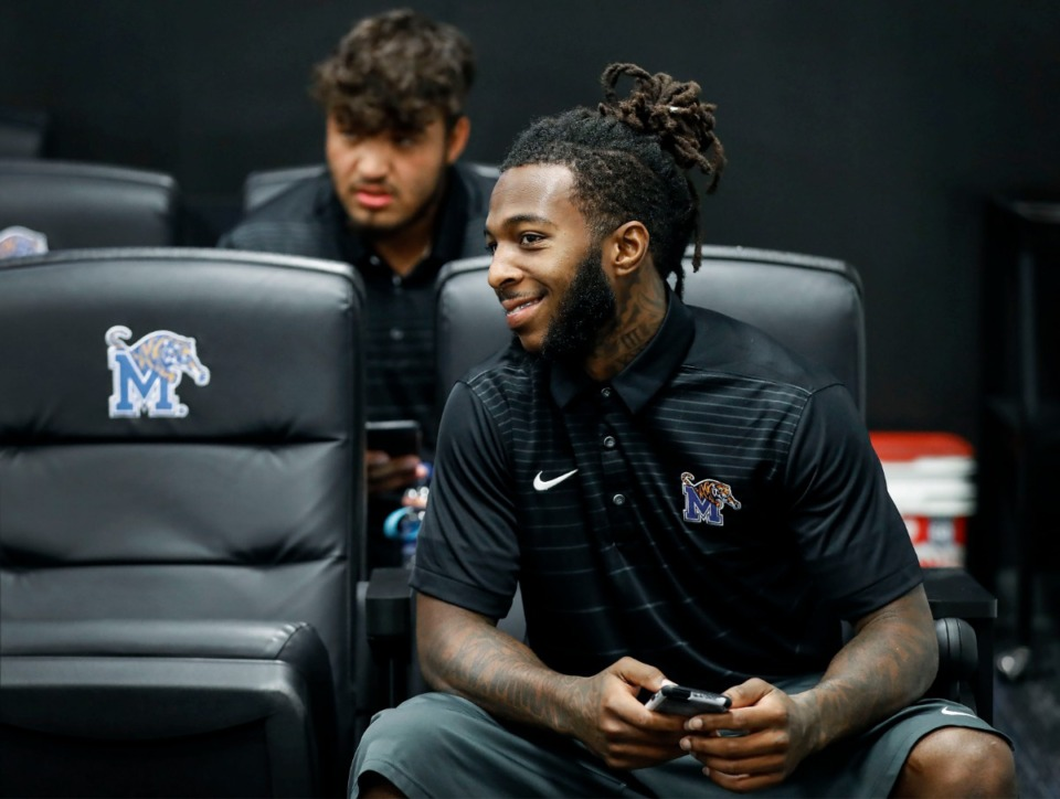 <strong>University of Memphis wide receiver Pop Williams listens to a teammate's interview during the team's Media Day at Billy J. Murphy Football Complex on Thursday, Aug. 1. &ldquo;I think this is a big year for me,&rdquo; Williams said. &ldquo;Whatever coach (Mike) Norvell has in store for me to do, I'll do it. Special teams, blocking, whatever.&rdquo;</strong> (Mark Weber/Daily Memphian)