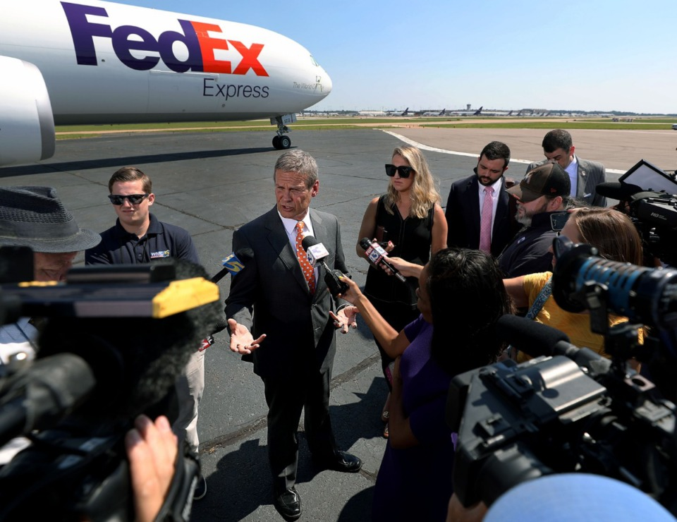 <strong>Tenn. Gov. Bill Lee spoke to the media on a runway at Memphis International Airport&nbsp; after FedEx's announcement Friday, Aug. 2, 2019, that it is increasing its financial commitment to modernization and expansion of the FedEx Express Memphis world hub.</strong> (Patrick Lantrip/Daily Memphian)