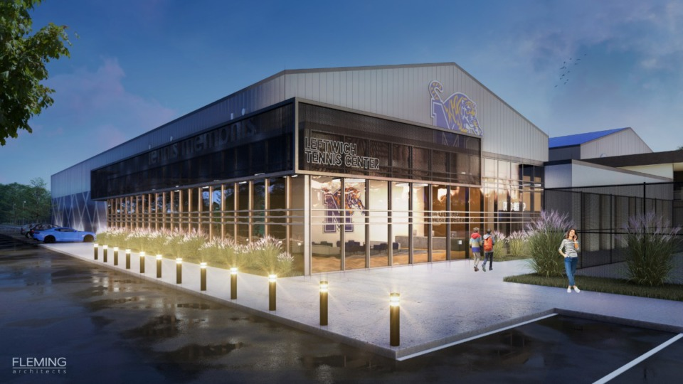 <strong>Leftwich Tennis Center will be renovated as a &ldquo;world class facility&rdquo; for the Tigers tennis teams and public players. </strong>(Courtesy of Fleming Architects)