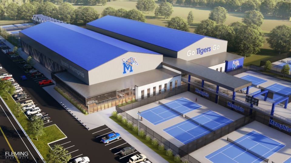 "<strong>The Leftwich Tennis Center is set to undergo renovations that include two indoor court buildings, a lobby with both the Tiger logo and ""Leftwich Tennis Center"" sign, a Tigers' players lounge, a locker room for Tiger tennis players and other enhancements.</strong><span>&nbsp;(Courtesy of Fleming Architects)</span>"