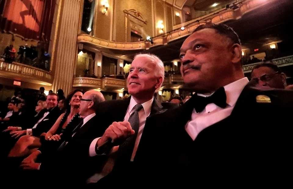 <strong>Former vice president Joe Biden (left) sits next to Rev. Jesse Jackson at the National Civil Rights Museum's 2018 Freedom Award gala. Both Jackson and Biden spoke about the threat the current White House administration poses to civil rights.&nbsp;</strong>(Houston Cofield/Daily Memphian)