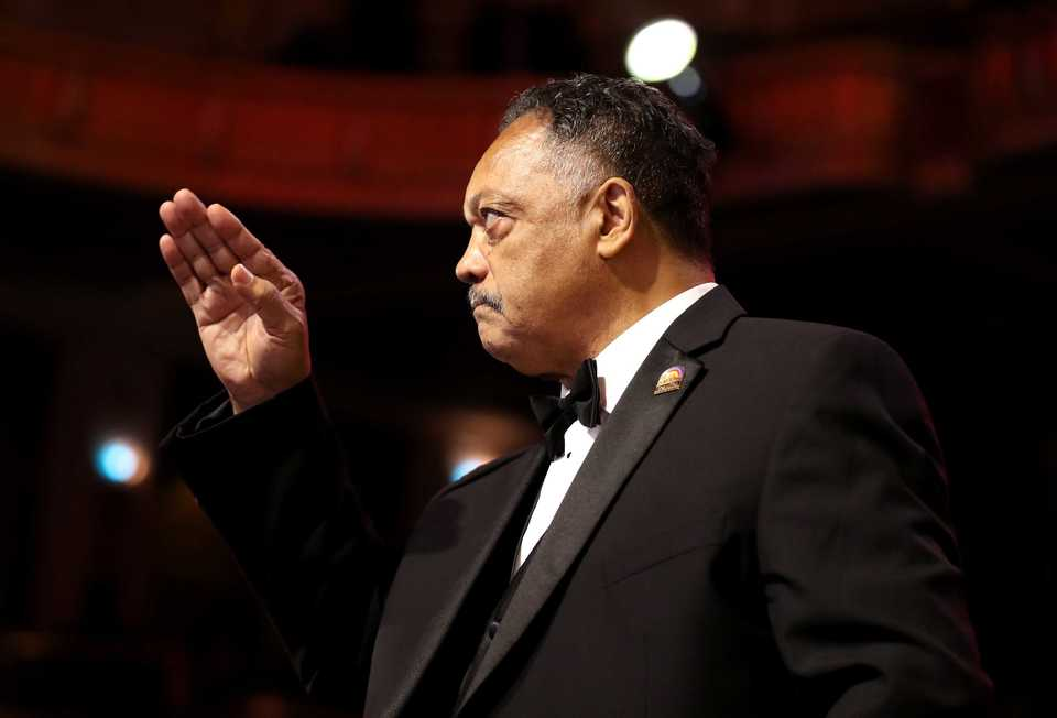 <strong>Rev. Jesse Jackson stands to salute former vice president Joe Biden after Biden finished his speech at the 2018 Freedom Awards. Both Jackson and Biden spoke about their belief the Trump administration poses a threat to civil rights.&nbsp;</strong>(Houston Cofield/Daily Memphian)