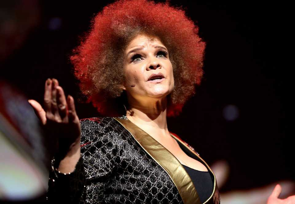 <strong>African-American style writer and 2018 Freedom Awards host Michaela Angela Davis speaks to a sold-out audience in the Orpheum.&nbsp;</strong>(Houston Cofield/Daily Memphian)