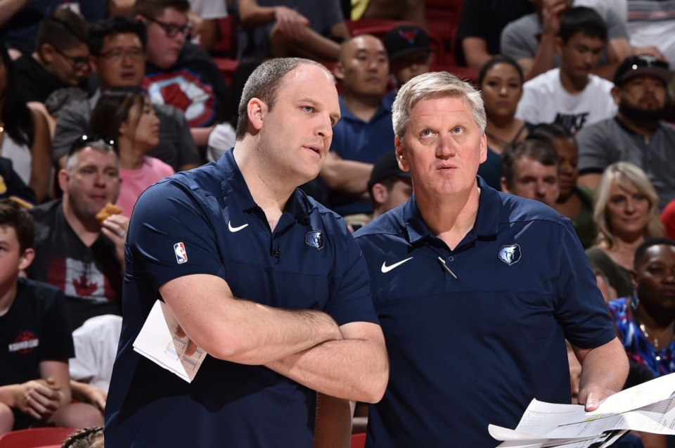 <strong>Brad Jones (right) served as Taylor Jenkins&rsquo; right hand during the Las Vegas Summer League. Jones will reunite with the new head coach of the Grizzlies as he joins Jenkins&rsquo; staff this season. &ldquo;The NBA/G League is such a small world,&rdquo; said Jones, 51. &ldquo;It&rsquo;s amazing how it plays out sometimes.&rdquo;&nbsp;</strong>(David Dow/NBAE via Getty Images)