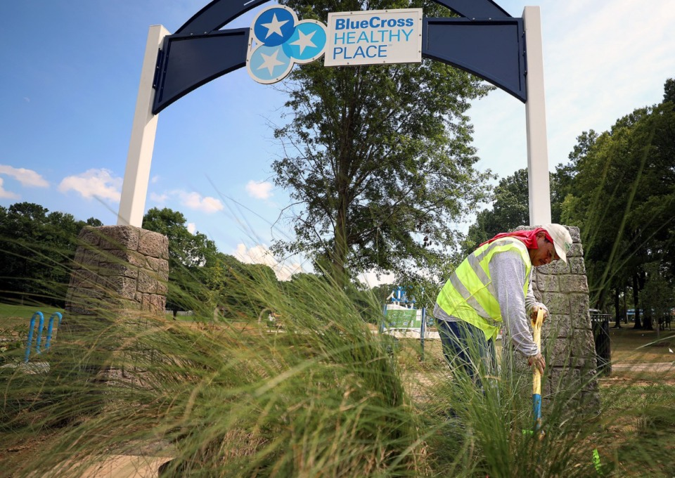 <strong>Rigo Ordo&ntilde;es puts the finishing touches on landscaping at David Carnes Park on Wednesday, Aug. 7, ahead of the Saturday, Aug. 10,&nbsp; grand opening of BlueCross BlueShield&rsquo;s first Healthy Place public space. The site is intended to bring together people of all ages and abilities. </strong>(Patrick Lantrip/Daily Memphian)