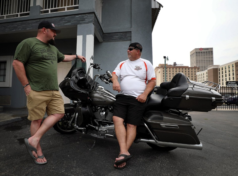 <strong>Jerrod Horton and Frank Cypert, who are biking from Tulsa, Okla., to Great Smoky Mountains National Park, will be two of the last guests to stay at the Vista Inn &amp; Suites in Downtown Memphis. The hotel at 265 Union will close on Wednesday, Aug. 14, to make way for the new Union Row development.</strong> (Patrick Lantrip/Daily Memphian)