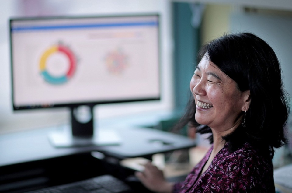 <strong>Jinghui Zhang, Ph.D., chair of the St. Jude Department of Computational Biology at St. Jude Children's Research Hospital, talks about her team's success with the St. Jude Cloud, which has has doubled in size, becoming the world's largest public repository of pediatric cancer genomics data.</strong> (Jim Weber/Daily Memphian)
