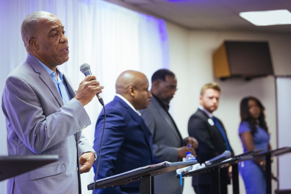 <strong>Thurston Smith (far left) joined District 7 candidates for Memphis City Council Will Richardson, Jimmy Hassann, Jerred Price and Michalyn Easter-Thomas during a forum for candidates in Districts 6 and 7 hosted by&nbsp;the Shelby County Democratic Party at New Salem M.B. Church in South Memphis on Aug. 10, 2019.</strong> (Ziggy Mack/Special to The Daily Memphian)