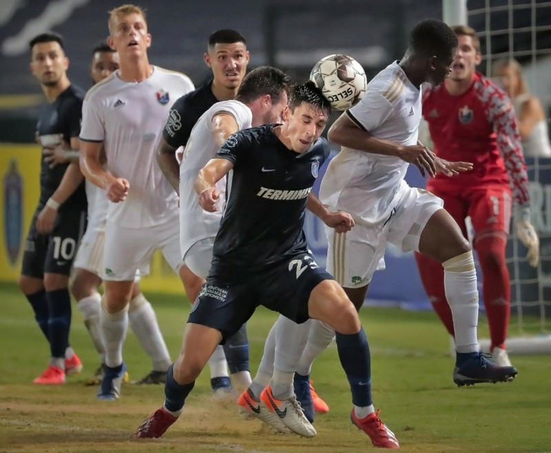 <strong>Memphis defender Wes Charpie (23) gets a head on the ball off a corner kick during 901FC's 2-1 loss to North Carolina FC at AutoZone Park on Aug. 10, 2019.</strong> (Jim Weber/Daily Memphian)
