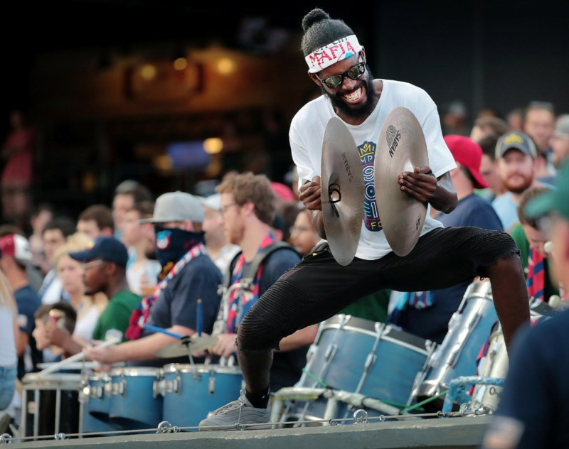 <strong>Soccer fans greet their team at the start of during 901FC's game against North Carolina FC at AutoZone Park on Aug. 10, 2019.</strong> (Jim Weber/Daily Memphian)
