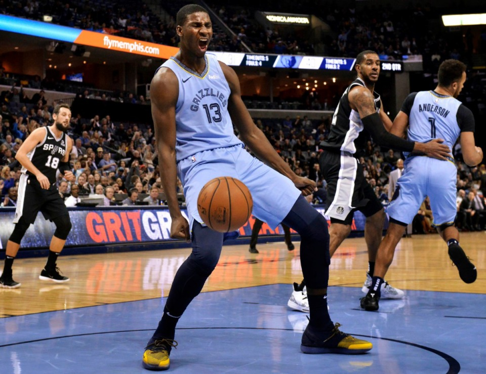 <strong>Memphis Grizzlies forward Jaren Jackson Jr. reacts after a dunk against the San Antonio Spurs on Jan. 9, 2019, in Memphis.&nbsp;The NBA released the Grizzlies&rsquo; 2019-2020 schedule Monday afternoon.</strong> (Brandon Dill/Associated Press)